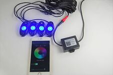 USA Seller RGB LED Rock Light Kits APP Bluetooth Wireless Control with 4 pods