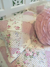 Rose Pink Queen Size Shabby Chic Vintage Florals quilted Bedcover Coverlet Set