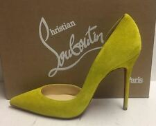 Christian Louboutin Iriza 100 Neon Yellow Suede Pumps Heels Shoes 38