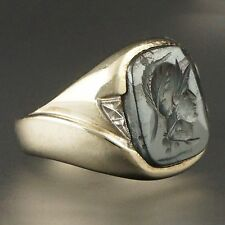 Heavy Deco Solid Gold & Carved Hematite Roman Warrior Intaglio Wax Seal Ring