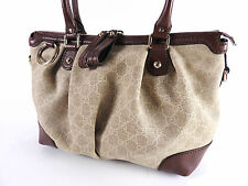 Auth GUCCI Sukey GG Canvas Shoulder Tote Bag Leather Beige Brown 247902 A-4830
