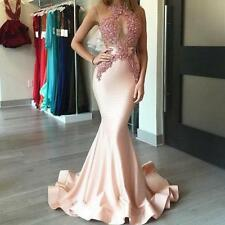 Pink  Satin Evening Dress Mermaid Appliques Pearls Party Prom Bridal Gown Custom