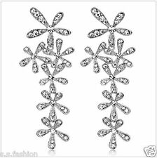 Newest Designer Rhinestone Silver Color Long Snowflake Flower Dangle Earrings.