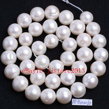 10-11mm Natural White Freshwater Pearl Nearly Round DIY Gems Beads Strand 15""