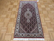 2'5 x 4'8 HAND KNOTTED FINE RED MAHI TABRIZ PERSIAN RUG WOOL & SILK G4022