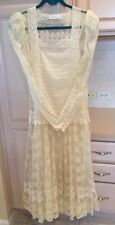 Vintage 70's Sax Jessica McClintock All Ivory Lace Dress 1920's Style W/ 2 Hats