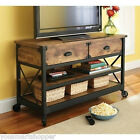Rustic Country TV Stand Table Console Media Cabinet Pine Wood Living Room NEW