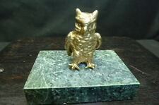VINTAGE ARTHUR COURT OWL NAPKIN/PAPER WEIGHT….BRASS AND MARBLE