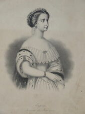 RARE Gravure Portrait EUGENIE IMPERATRICE NAPOLEON III MODE SECOND EMPIRE 1860