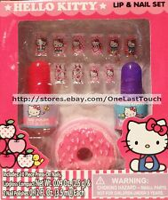 SANRIO 13pc Set/Lot HELLO KITTY Press-On Nails+Polish+Lipgloss Compact NEW!