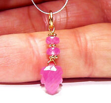 RARE GENUINE NATURAL UNTREATED PINK SAPPHIRE CARVED LEAF 14K GOLD PENDANT