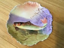 Antique LDBC Flambeau Limoges Hand Painted Fish Plate Artist Signed
