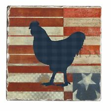 Counter Art Tumbled Tile Coasters American Farm Set of 4 Rooster MADE IN USA