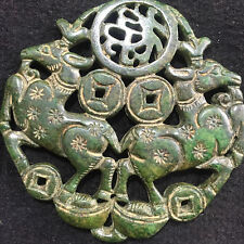 Antique Chinese Hand-carved aristocratic wearing Jadeite jade pendant    1111A
