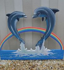 lawn art two dolphins swimming by rainbow in ocean yard decorations blue water