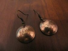 ORIGINAL HANDMADE WHEAT LINCOLN CENT(1909-1958) COPPER COIN EARRINGS