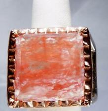 Huge Rose Quartz & Sterling Silver Statement RIng MASSIVE size 6.5
