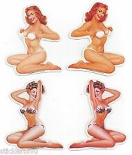 4 Retro 1960s Pin up Girls Bikinis Stickers Rare OOP: Baron Von Lind C Cartagena