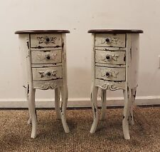 Pair of Country French Round Distressed Painted Nightstands/End/Side Tables