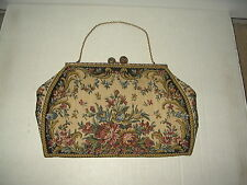 Pretty Vintage Petit Point Tapestry Cloth Clutch Evening Purse With Chain Strap