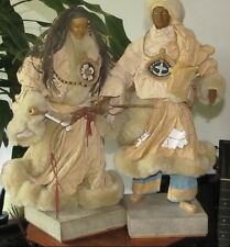 Vintage Tibetan  Paper Mache Nomad Couple  Sculptures Hand Made Paulette Cui