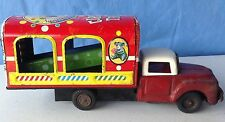 Tin Litho Circus Truck antique Japan friction NOT WORKING PROPERLY but turns