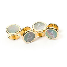 NEW Stunning Craft Boxed Masonic Onyx Dress Shirt Studs Set of 4 Rhodium Plated