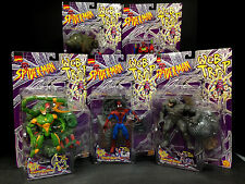1997 TOY BIZ SPIDER-MAN WEB TRAP 5 FIGURE SET SCORPION RHINO MONSTER SPIDER D7