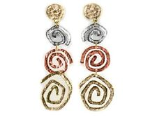 EARRINGS Hammered Spiral Copper Tri Tone Designer-Style Piecred Wire Earrings