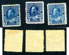 3 Shades of Mint Canada 5 Cent KGV Admiral Stamps #111, 111a, 111b (Lot #8214)