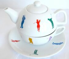 House of Prill Single Serve Stacking Teapot Cup Saucer Set Women Men Golf Swing