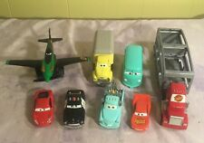 Cars Pixar Lot 8-McQueen Mac Hauler Fillmore Sheriff Dustin Mellows Plane Tow