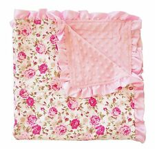 PoshPeanut® Toddler Baby Soft Minky Ruffled Edge Kids Blanket Throw Floral