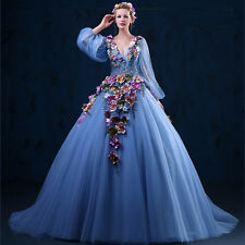 2015 Appliques Long Sleeves Train Wedding Dresses Quinceanera Pageant Ball Gown
