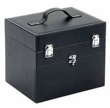Nail Tech Faux Leather Beauty Vanity Case Makeup Box Black Travel Bag Luggage