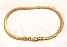 "14KT Yellow Gold Quality Italian 3.8mm Textured Flat Chain 7"" Bracelet  GIFT BOX"
