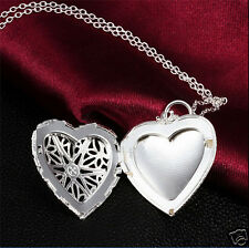 Silver plated Charm Filigree Hollow Heart Locket Pendant Necklace New100%