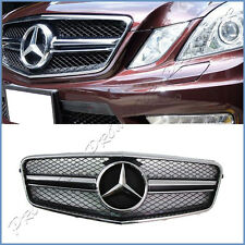 For 10-13 BENZ W212 E550 E350 E Class E63AMG Type Shiny Black Front Grille Hood