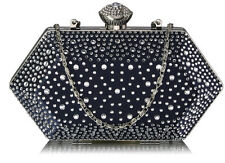 Ladies Women's Sparkle Crystal Beaded Evening Clutch Small Purse Bag Wedding 285