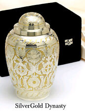 ADULT SILVER GOLD BRASS FUNERAL CREMATION URN W. BOX