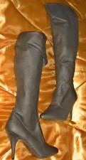 """Brown Leather Knee High Boots 4"""" Heels Zipper US 8 Pleaser Vanity-2013 New"""
