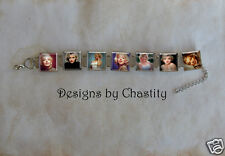 Marilyn Monroe Bracelet VTG Glass Portrait Altered Art Charm Hollywood Star