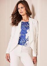 Shaped Hem Ivory Lace Covered Tailored Short Blazer, Jacket Size 14 NEW (£69)