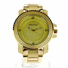 Mens Hip Hop Iced Out Luxury Baller Full Metal Gangster Fashion Wrist Watch