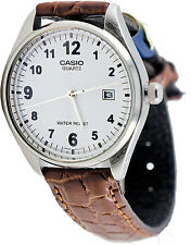Casio MTP-1175E-7B Men's White Analog Watch Brown Leather Band New Date Display