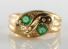 DIVINE  9CT 9K GOLD VICTORIAN INS EMERALD & DIAMOND DOUBLE SNAKE RING