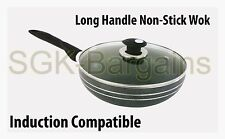 Long Handle Non-Stick Coated Frying WOK Sauce Fry Glass Lid Induction Base 32cm