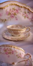 ANTIQUE HAVILAND LIMOGES FRANCE TEA CUP AND SAUCER PINK ROSES DOUBLE GOLD (A)