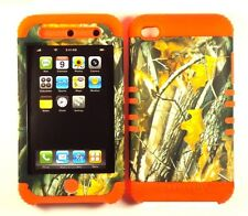 Hybrid Hard Cover Case + Apple iPod iTouch 4 4th Camo Mossy Oak Branch on Orange