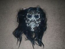 Evil Scary Silver Skull Halloween Costume Mask Platinum with attached wig  boys